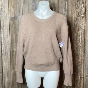 Elodie Natural Color Knit Crewneck Sweater